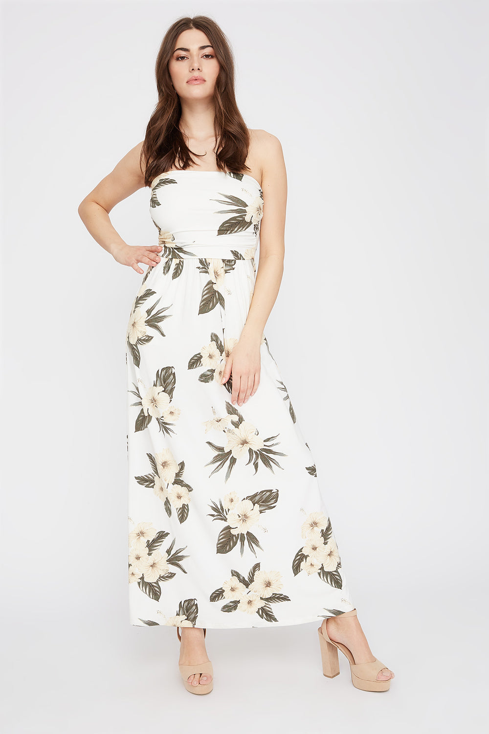 Strapless Floral Pocket Maxi Dress Off White