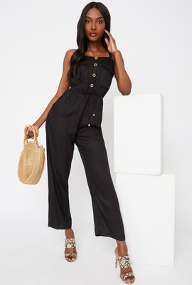 Button-Up Pocket Jumpsuit