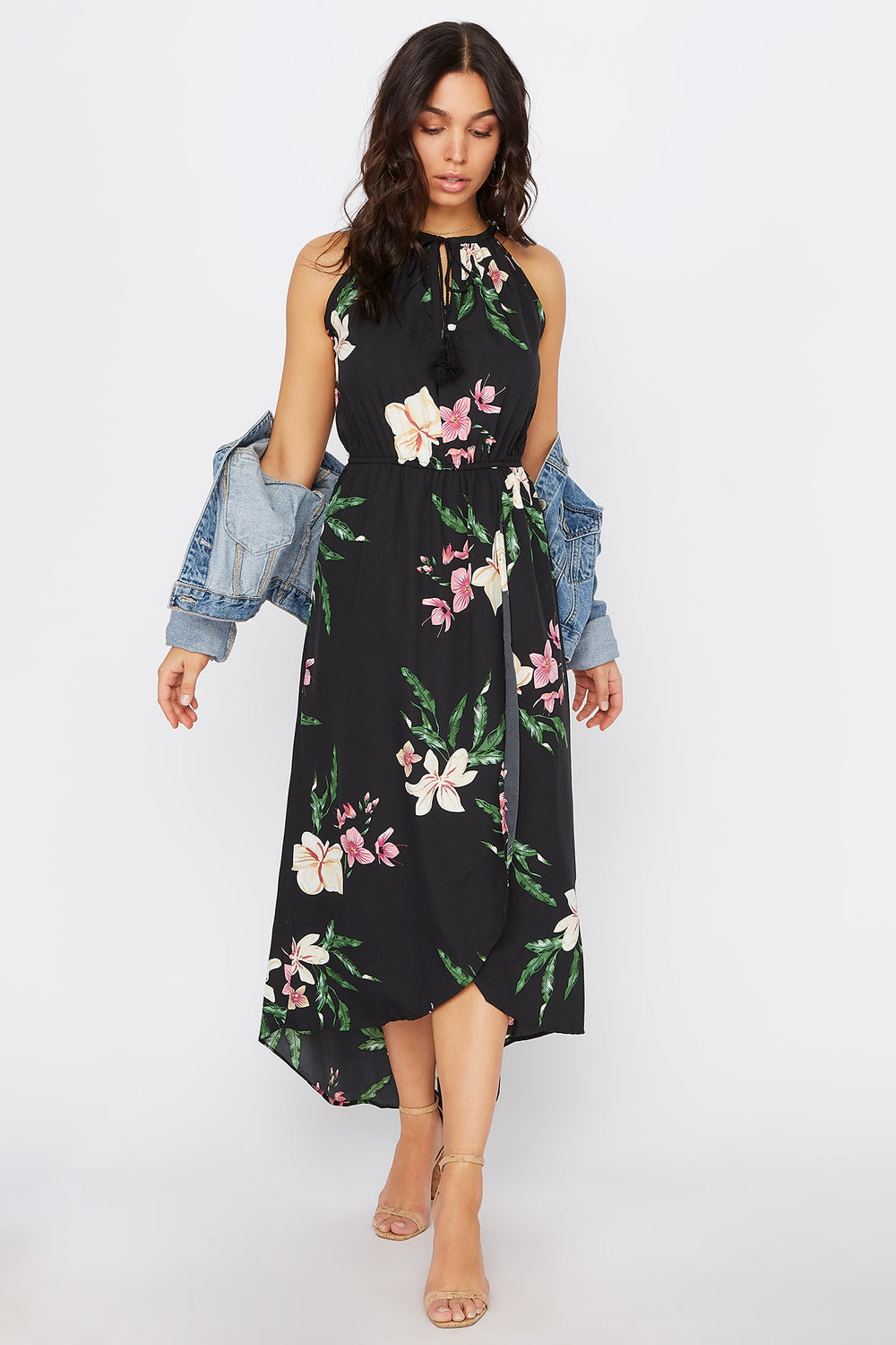 High Neck Keyhole Tulip Dress Black