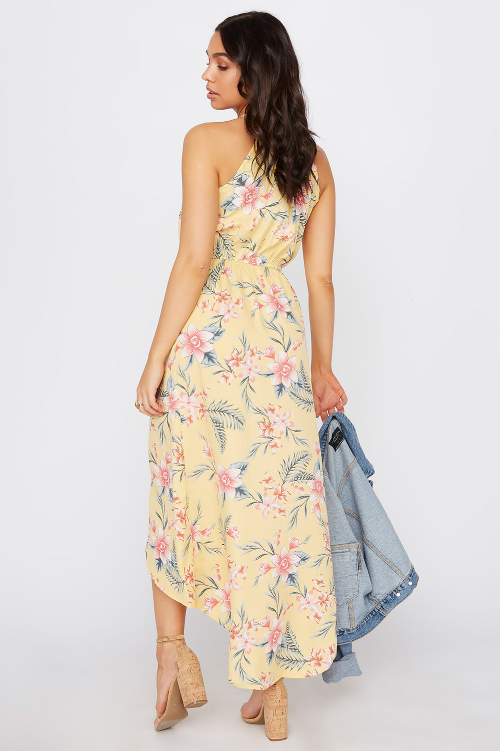 High Neck Keyhole Tulip Dress Yellow