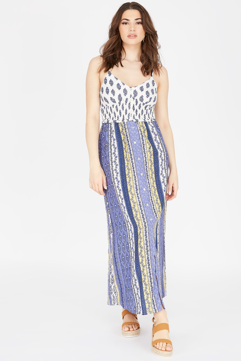 Printed Button-Front V-Neck Maxi Dress Blue