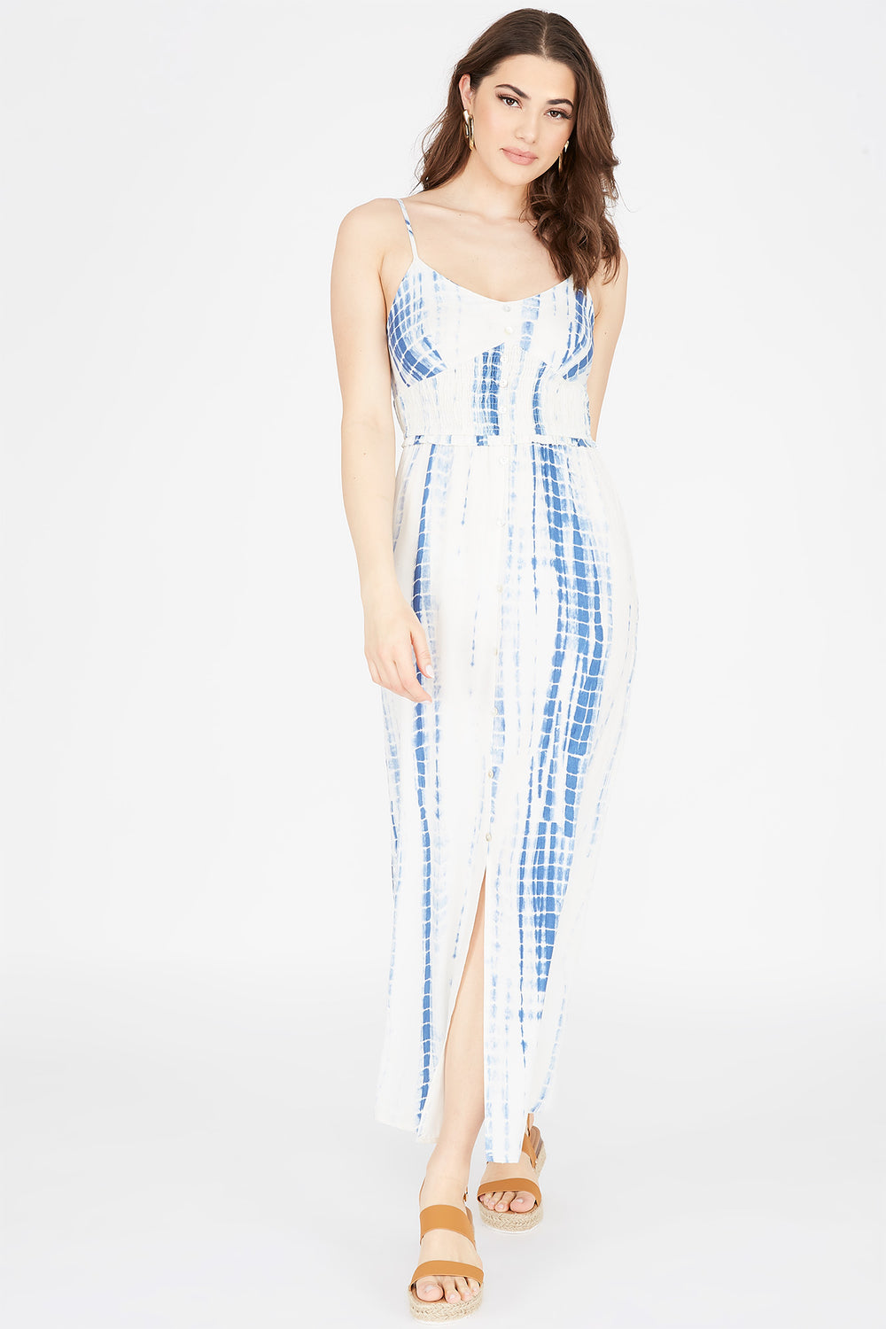 Printed V-Neck Button-Front Maxi Dress Light Blue