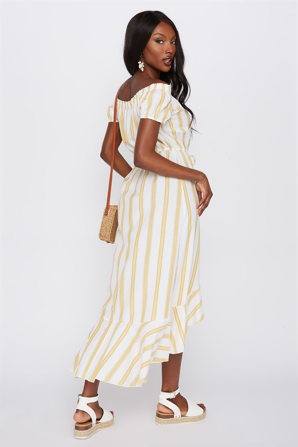 Striped Off The Shoulder Button Front High-Low Dress Assorted