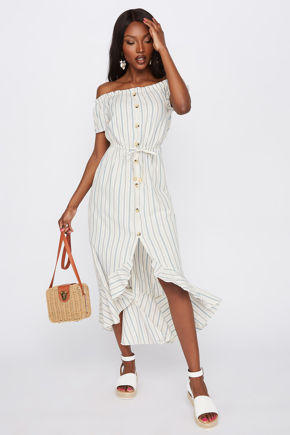 Striped Off The Shoulder Button Front High-Low Dress Oatmeal