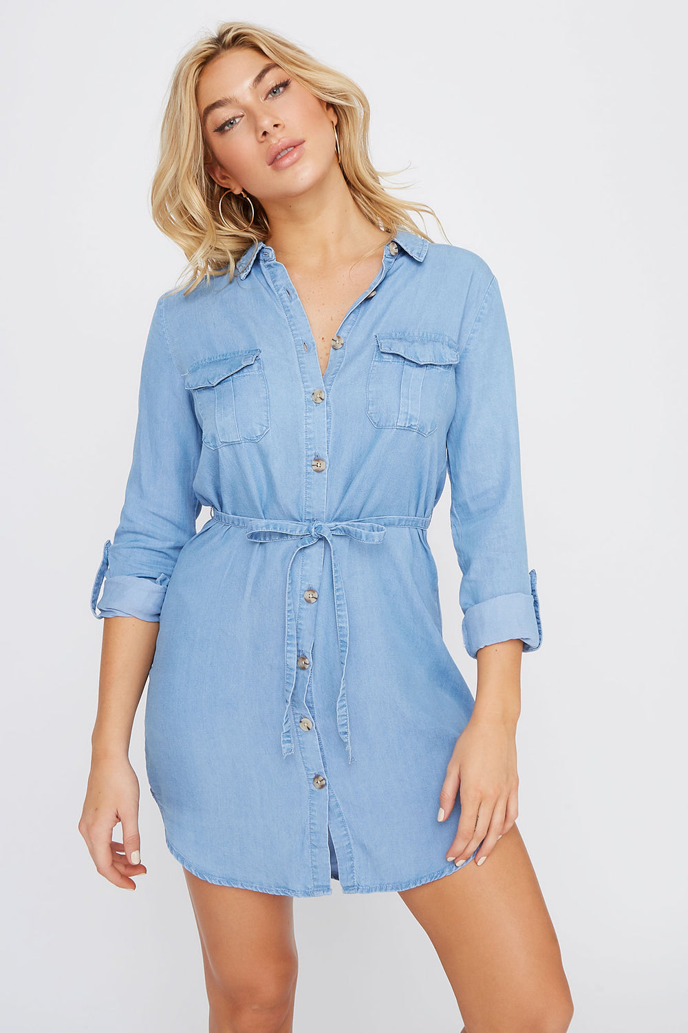 Chambray Button-Up Self Tie Dress Denim Blue