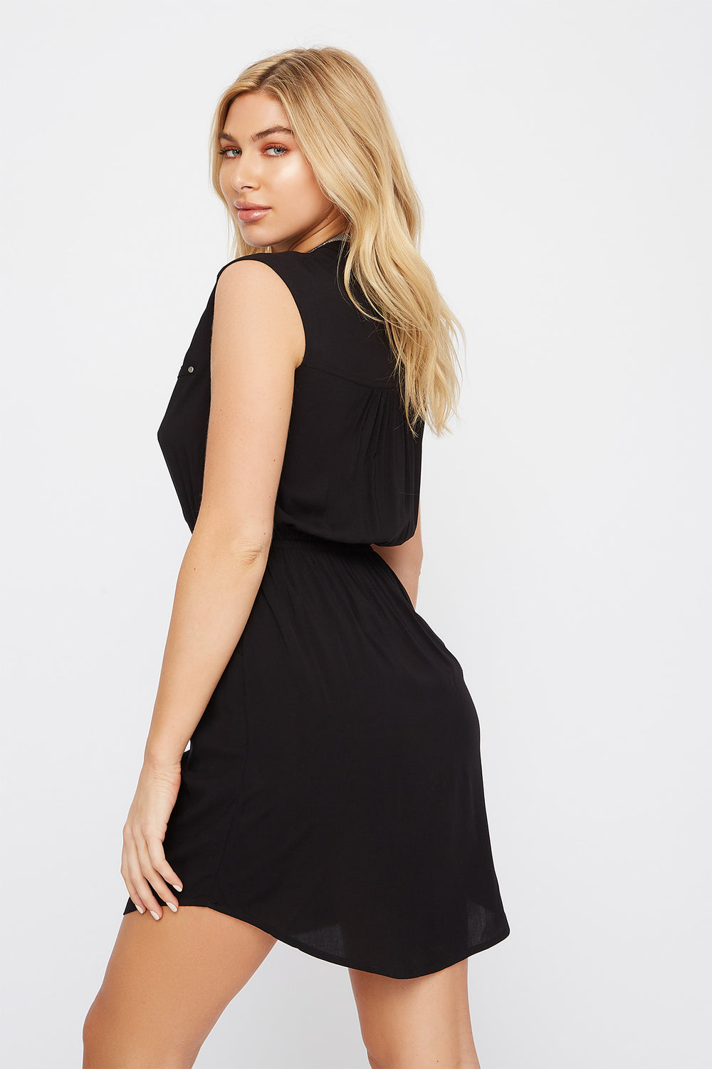 Half-Zip Shirt Dress Black
