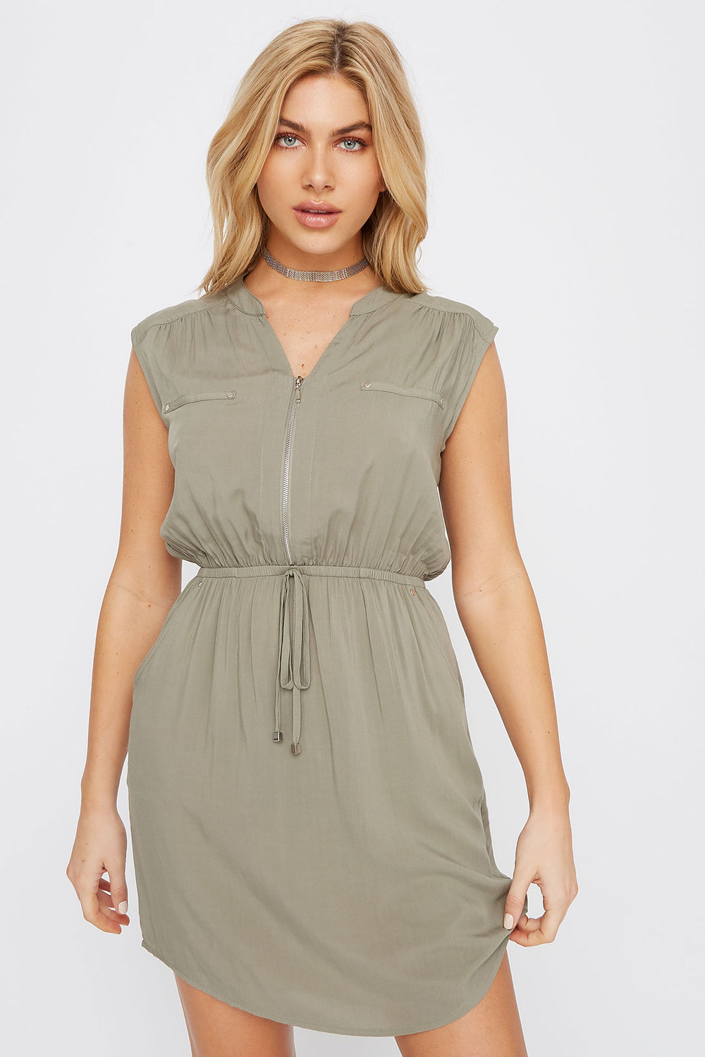 Half-Zip Shirt Dress Dark Green