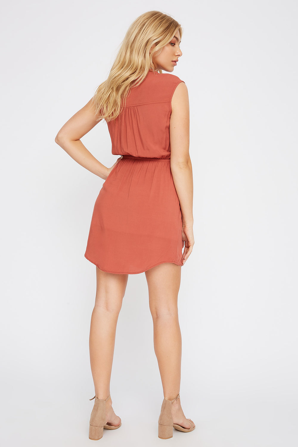 Half-Zip Shirt Dress Rust
