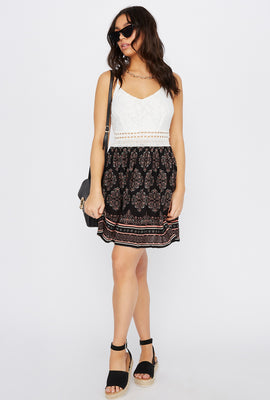 Lace Contrast Scoop Neck Crochet Insert Mini Dress