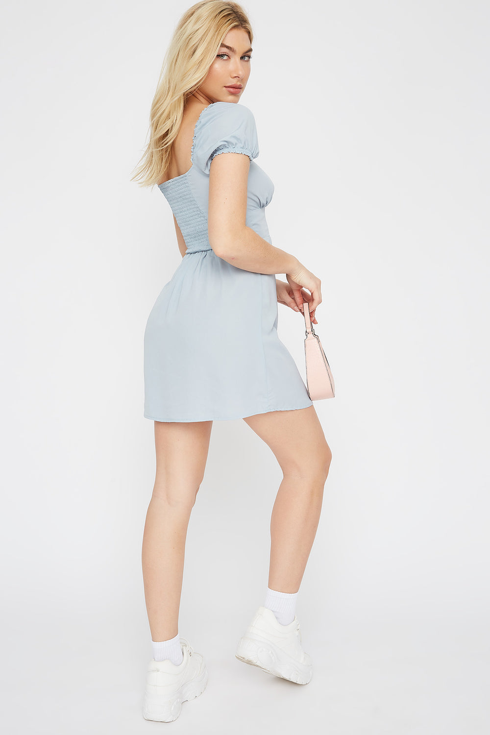 Button Front Peasant Mini Dress Baby Blue