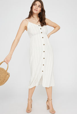Striped Linen Button-Up Midi Dress