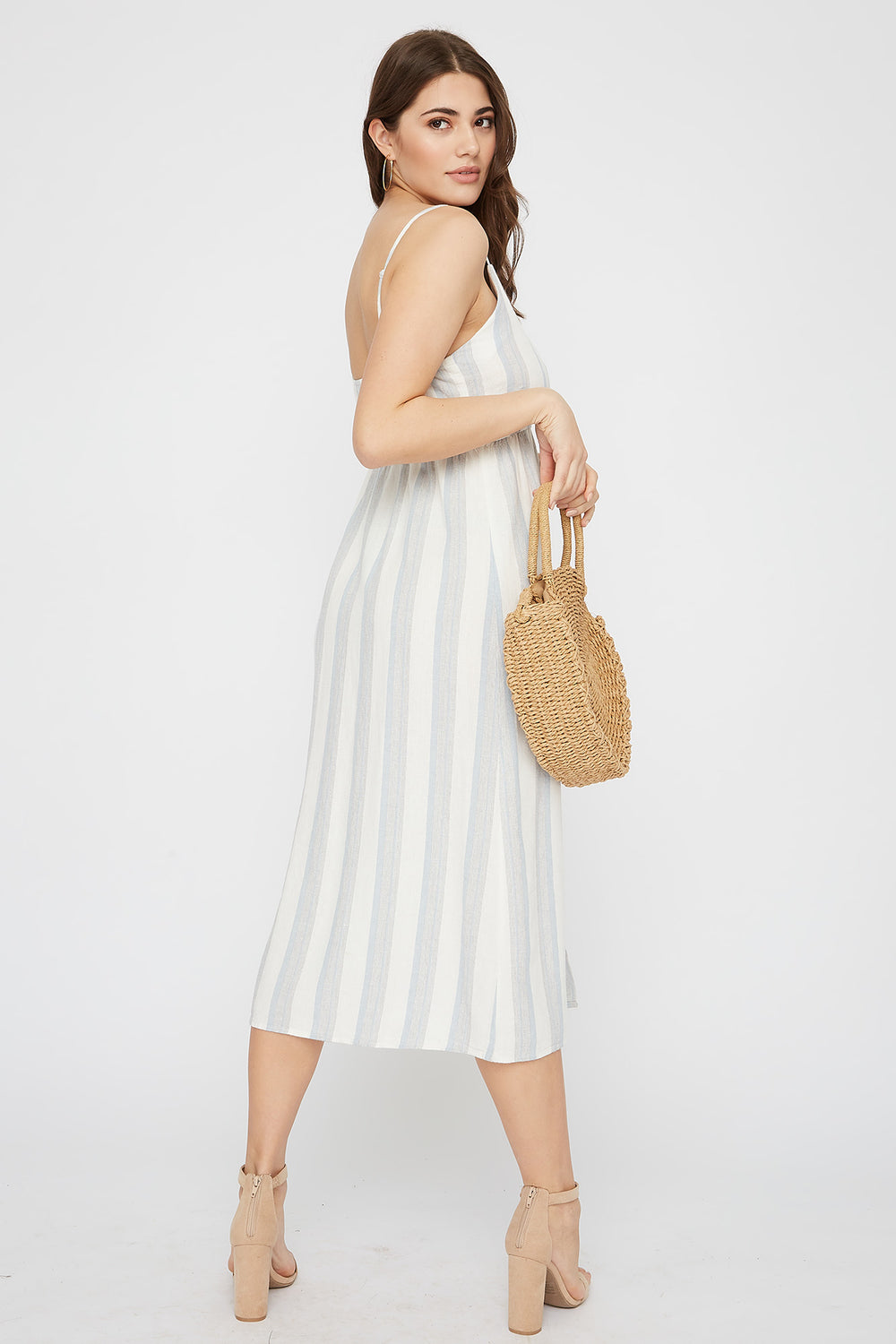 Striped Linen Button-Up Midi Dress Baby Blue