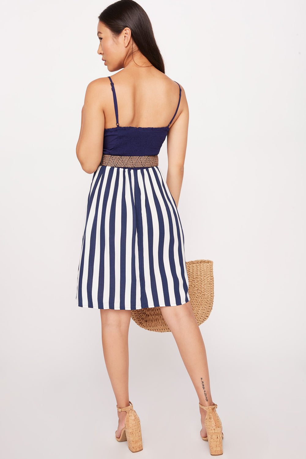 Belted Contrast Button Front Dress Navy