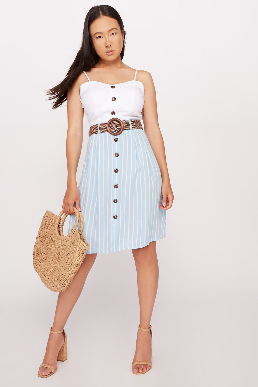 Belted Contrast Button Front Dress Baby Blue