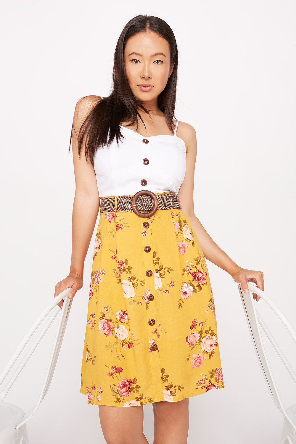 Belted Contrast Button Front Dress Yellow