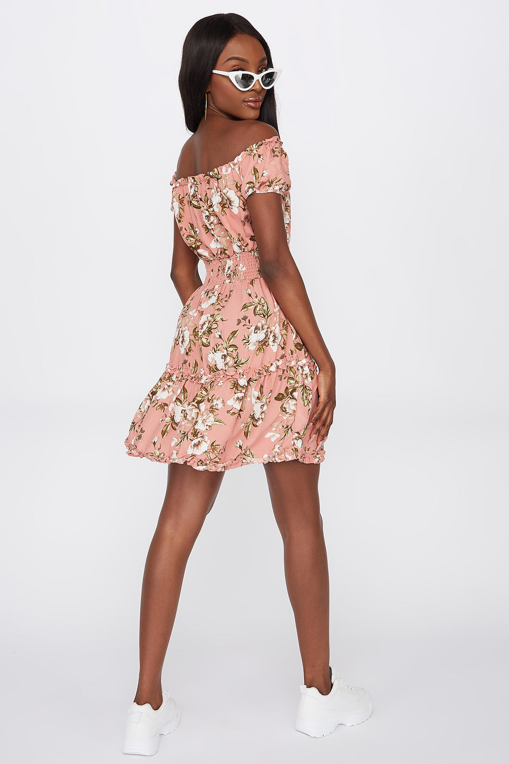 Printed Off The Shoulder Smocked Mini Dress Dusty Rose