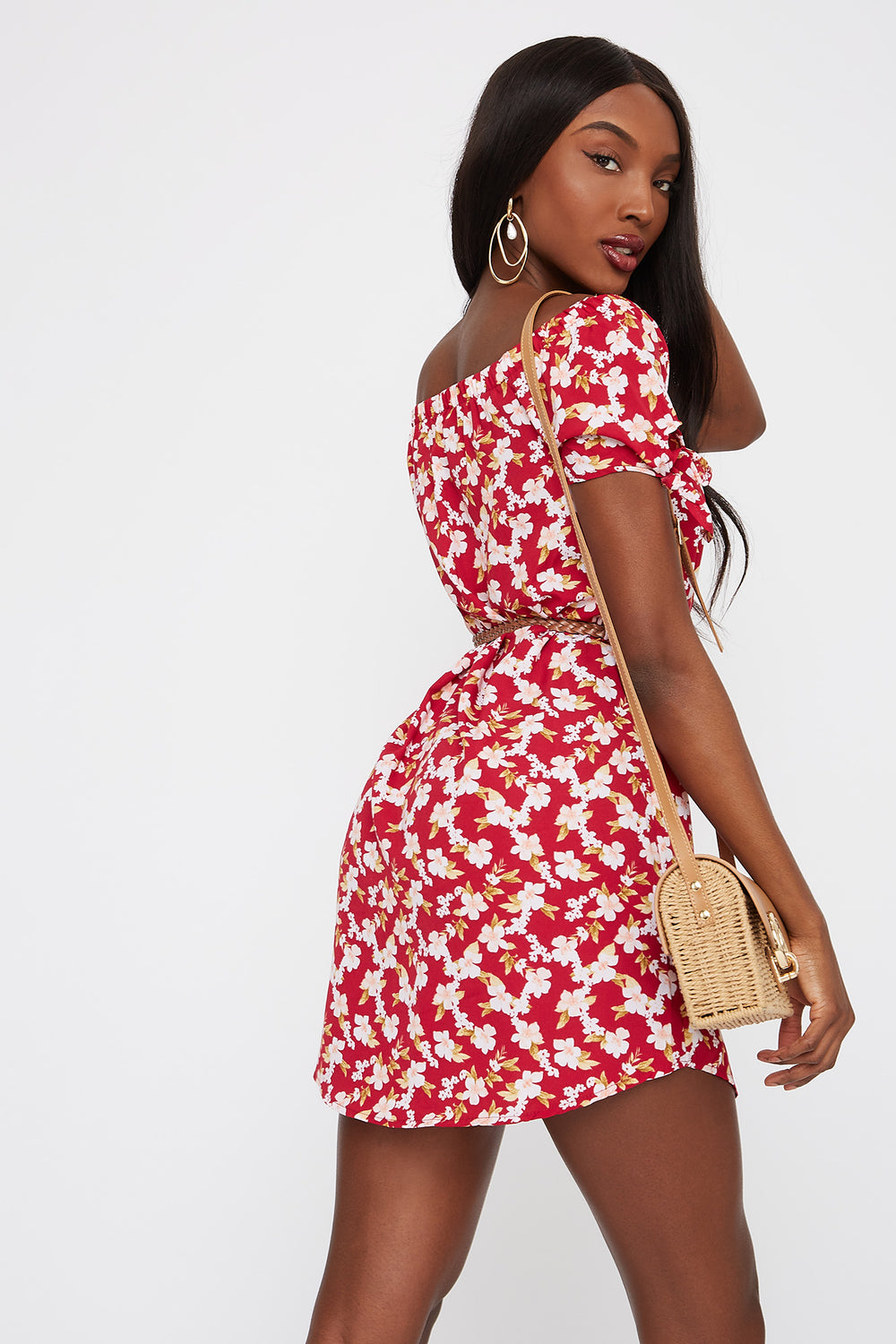 Printed Off The Shoulder Belted Dress Pink