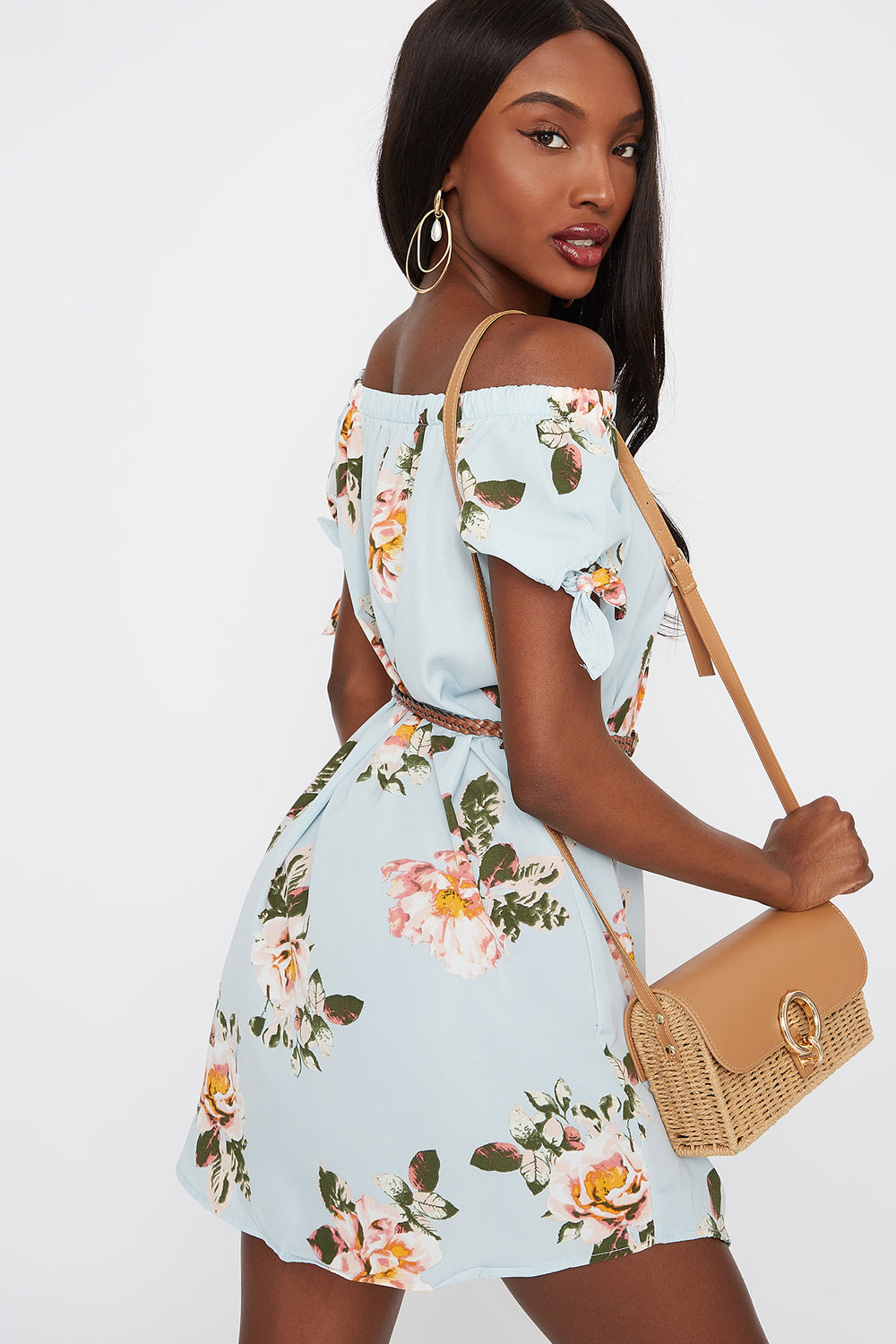 Printed Off The Shoulder Belted Dress Sage