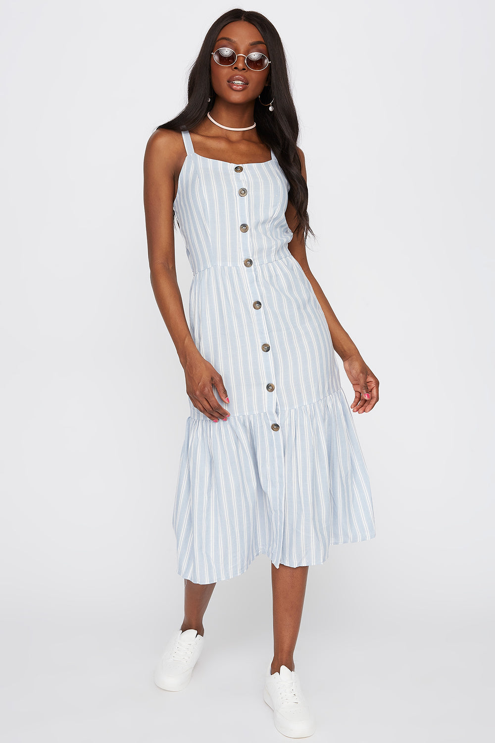 Striped Button-Up Frill Hem Maxi Dress Blue