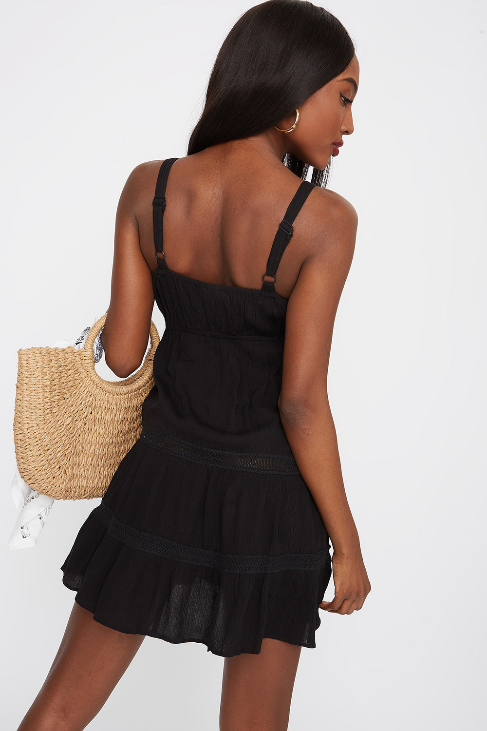 3-Tier Square Neck Button Front Mini Dress Black