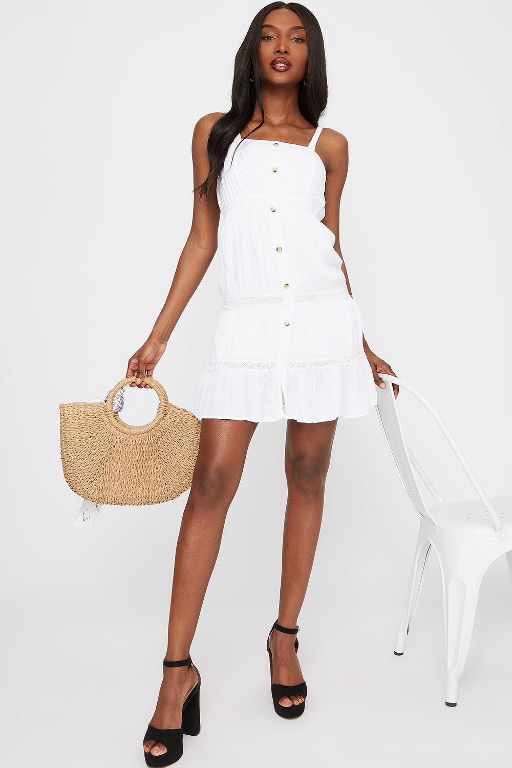 3-Tier Square Neck Button Front Mini Dress White