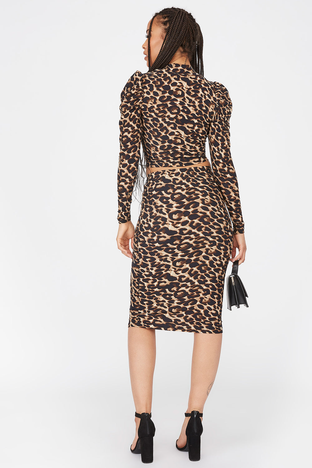 Soft Leopard Printed Pencil Skirt Leopard