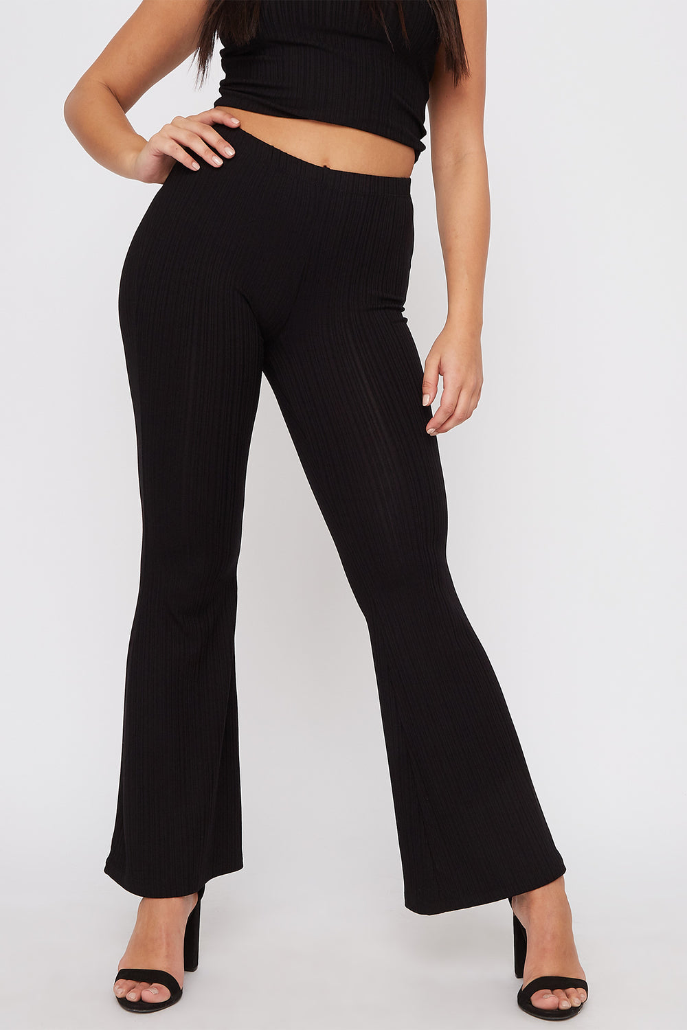 High-Rise Ribbed Flare Pant Black