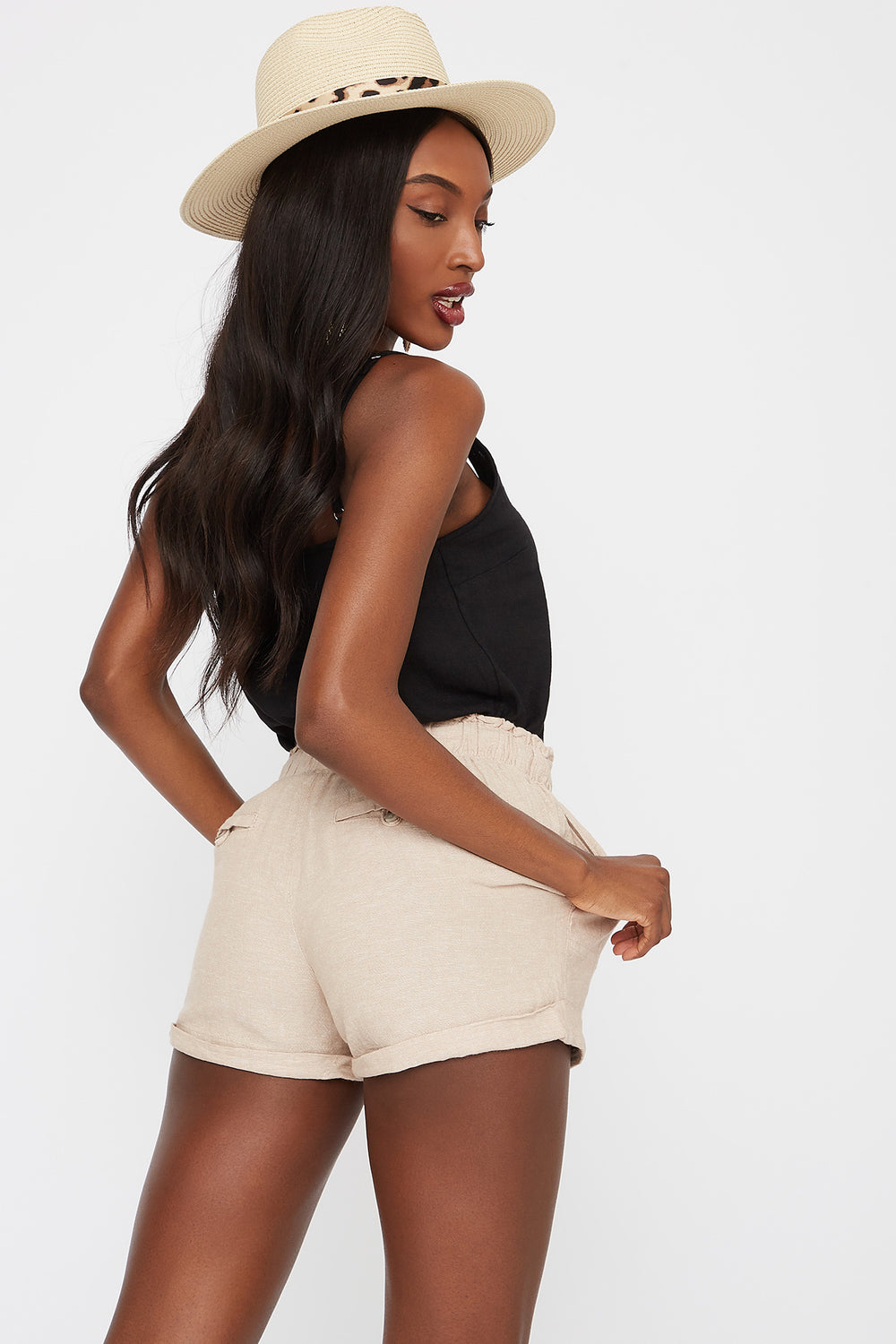 High-Rise Drawstring Cuffed Linen Short Taupe