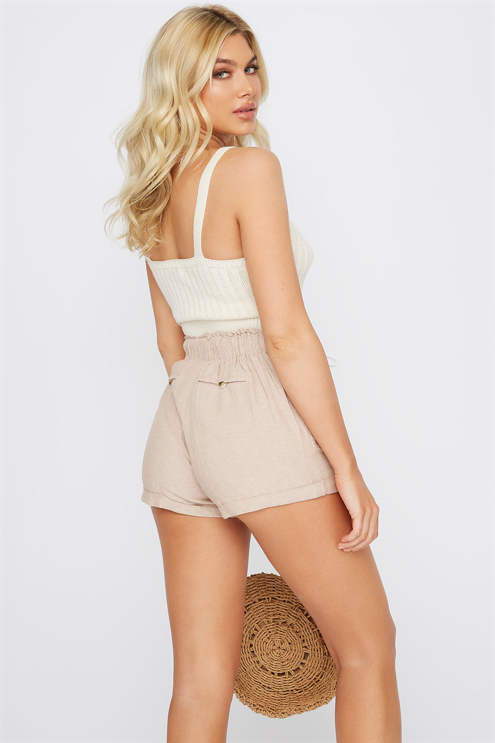 Drawstring Paperbag Linen Cuffed Short Taupe