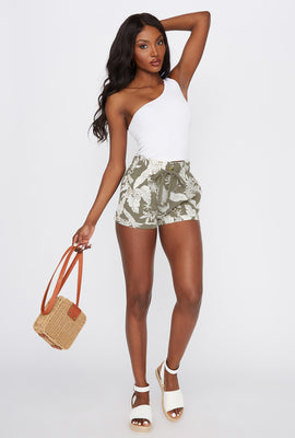 Printed Paperbag Cuffed Linen Short