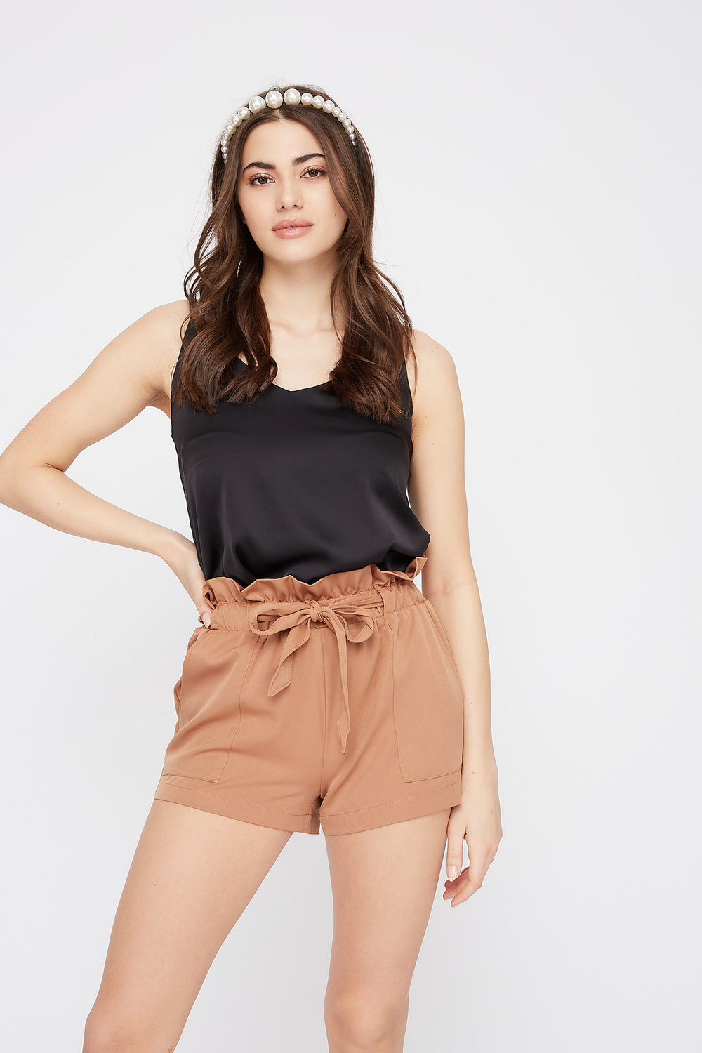 Paperbag Self Tie Short Camel
