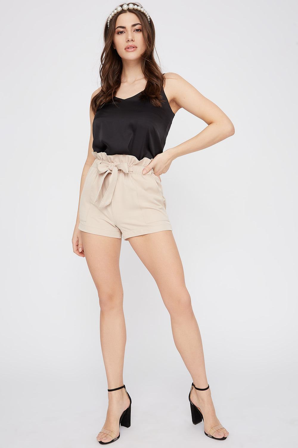 Paperbag Self Tie Short Taupe
