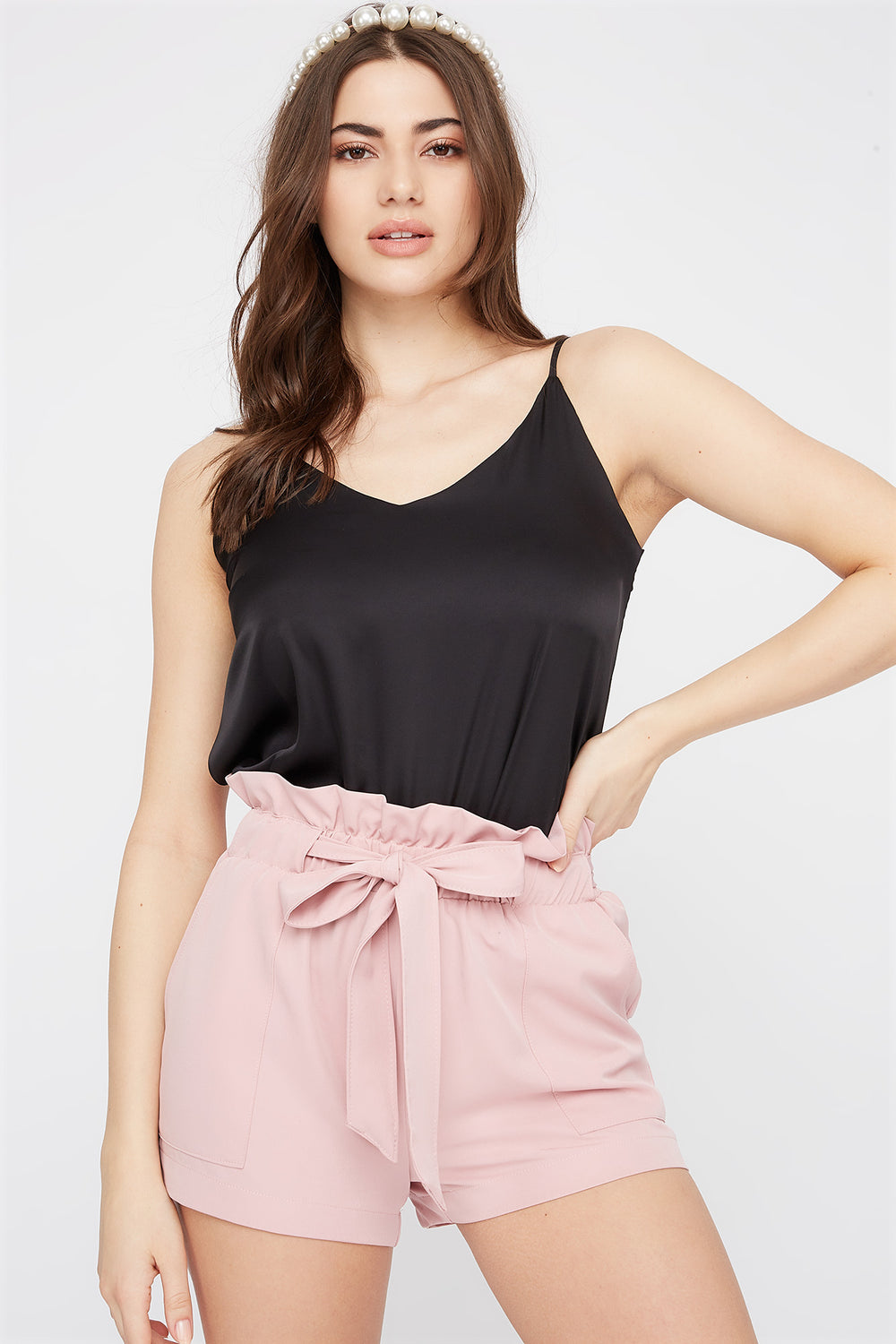 Paperbag Self Tie Short Light Pink