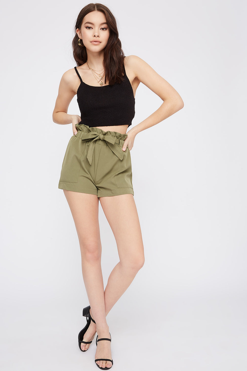 Solid Paperbag Self Tie Short Jade