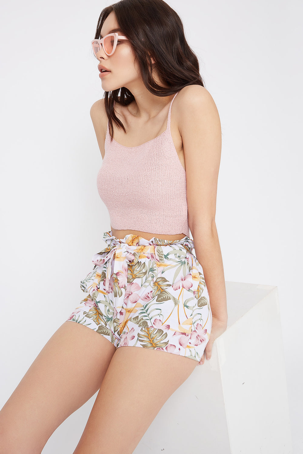 Printed Paperbag Self Tie Short Multi