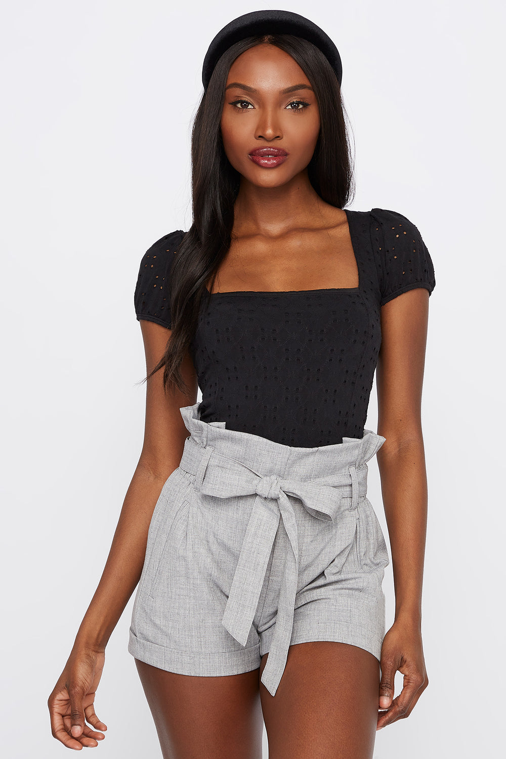 High-Rise Self-Tie Paperbag Short Heather Grey