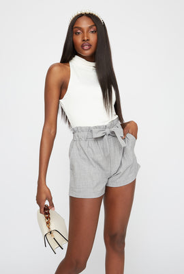 Textured High-Rise Self-Tie Paperbag Short