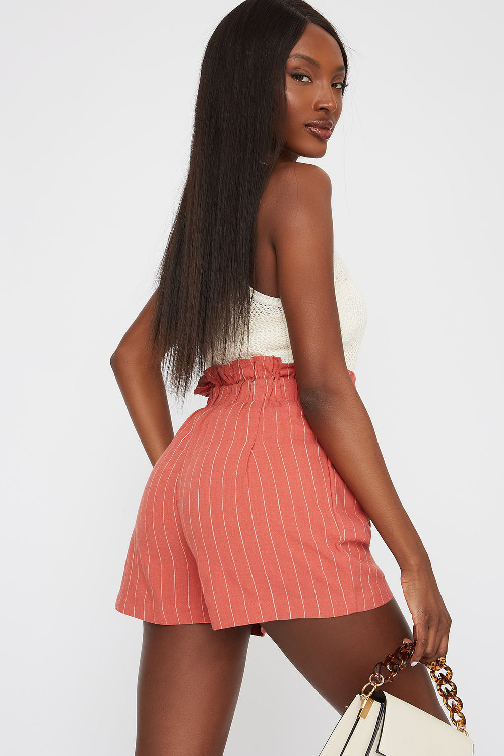 Paperbag Drawstring Pleated Short Peach
