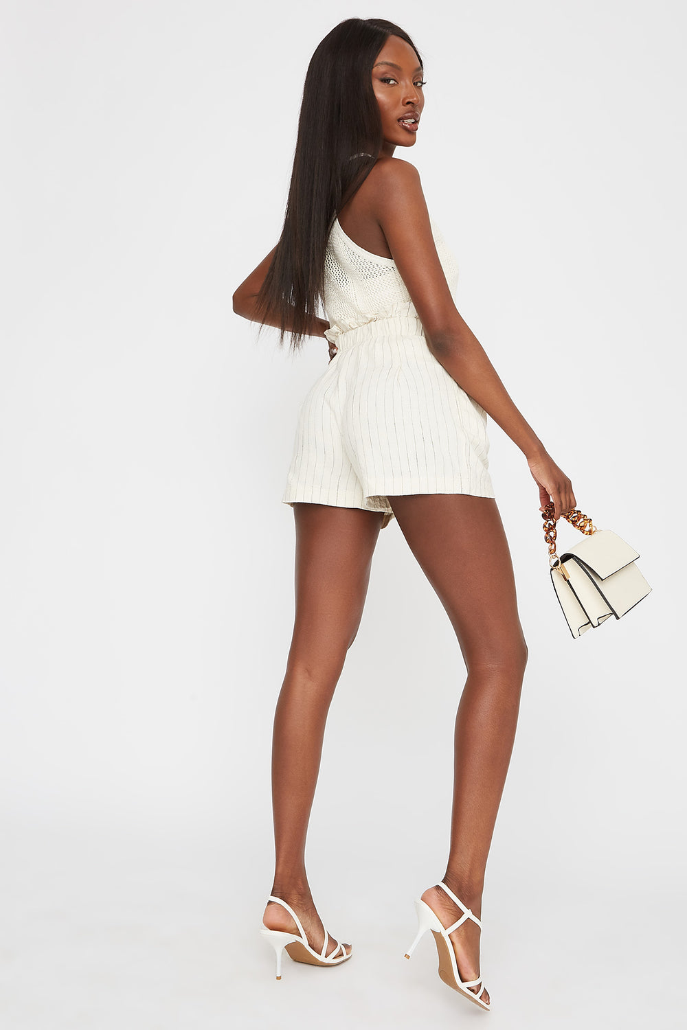 Paperbag Drawstring Pleated Short Ivory