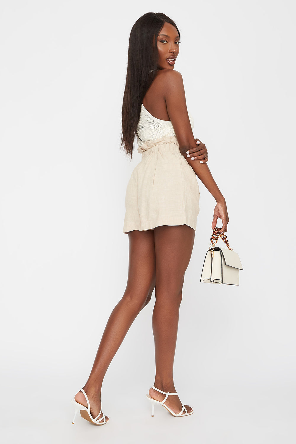Paperbag Drawstring Pleated Short Taupe