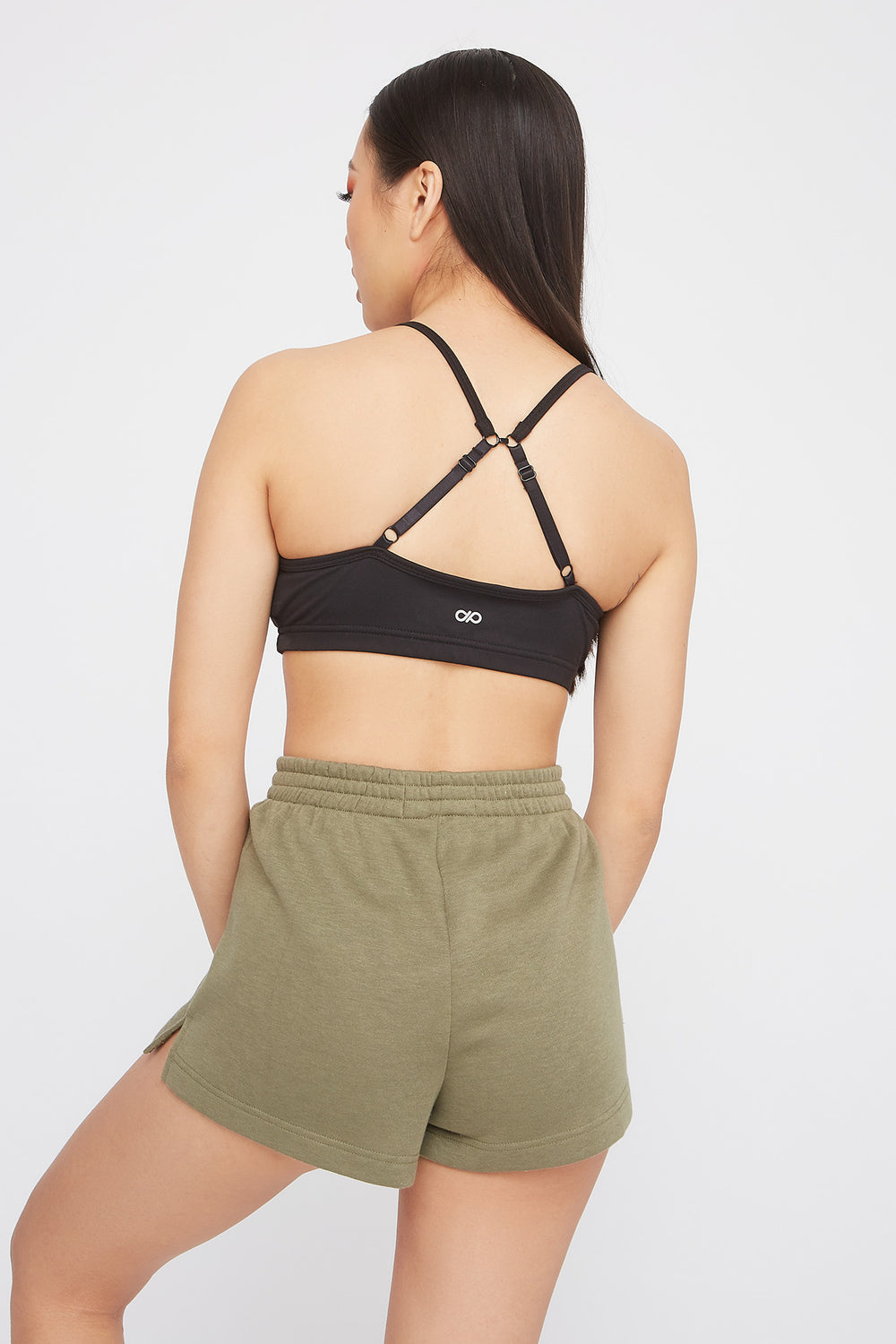High-Rise Fleece Active Short Dark Green