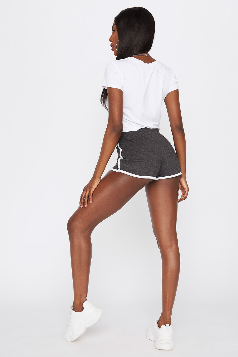 Soft High-Rise Drawstring Dolphin Hem Short Charcoal