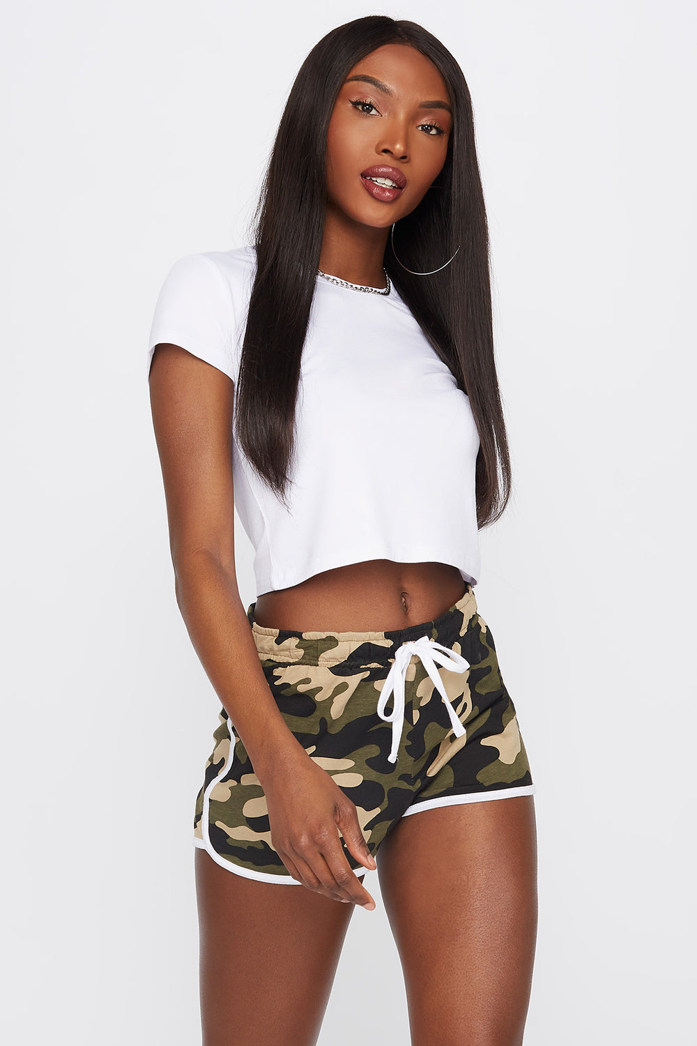 Soft High-Rise Drawstring Dolphin Hem Short Camouflage