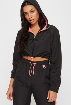 Half Zip Active Cropped Hooded Windbreaker