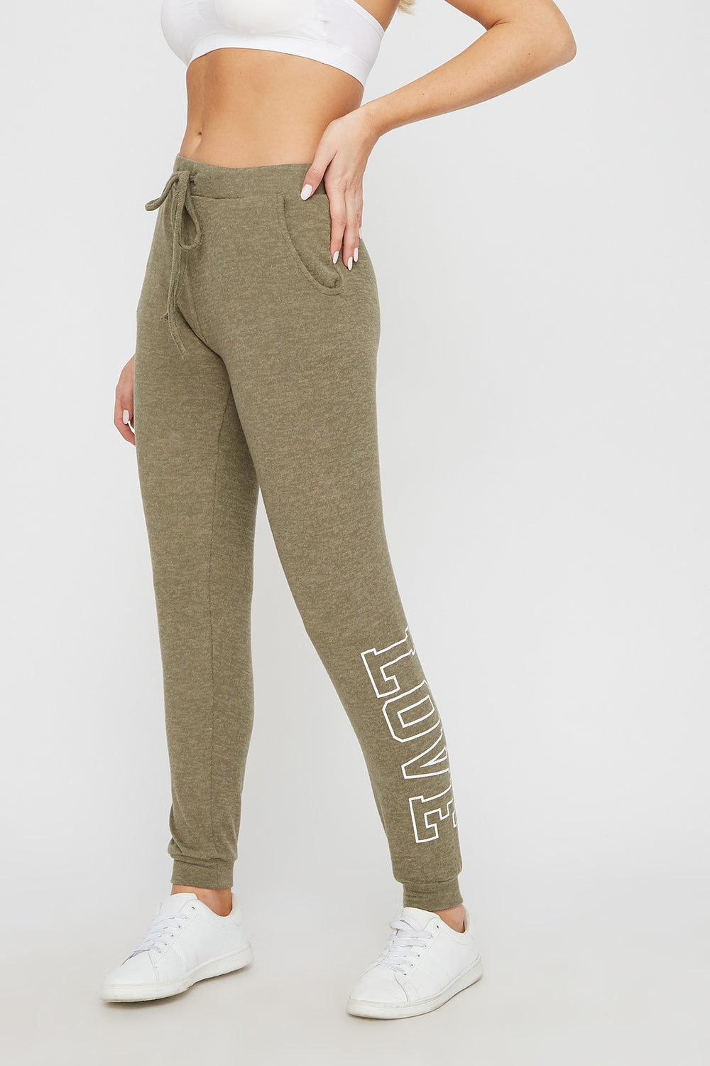 Super Soft Brushed Graphic Jogger Dark Green
