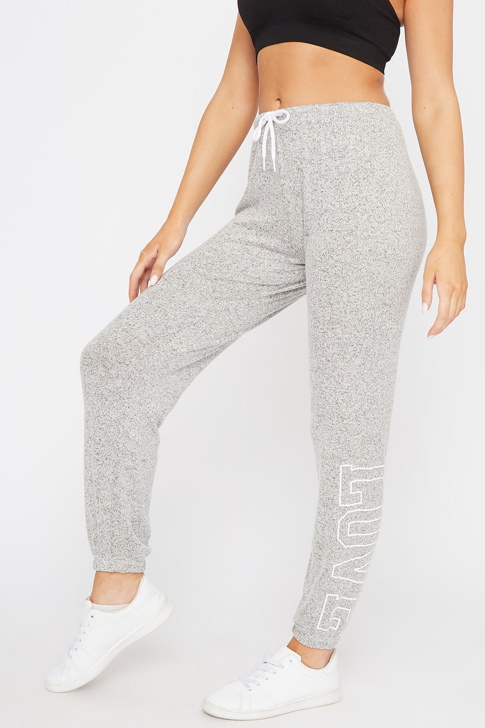 Fleece Graphic Drawstring Jogger Heather Grey