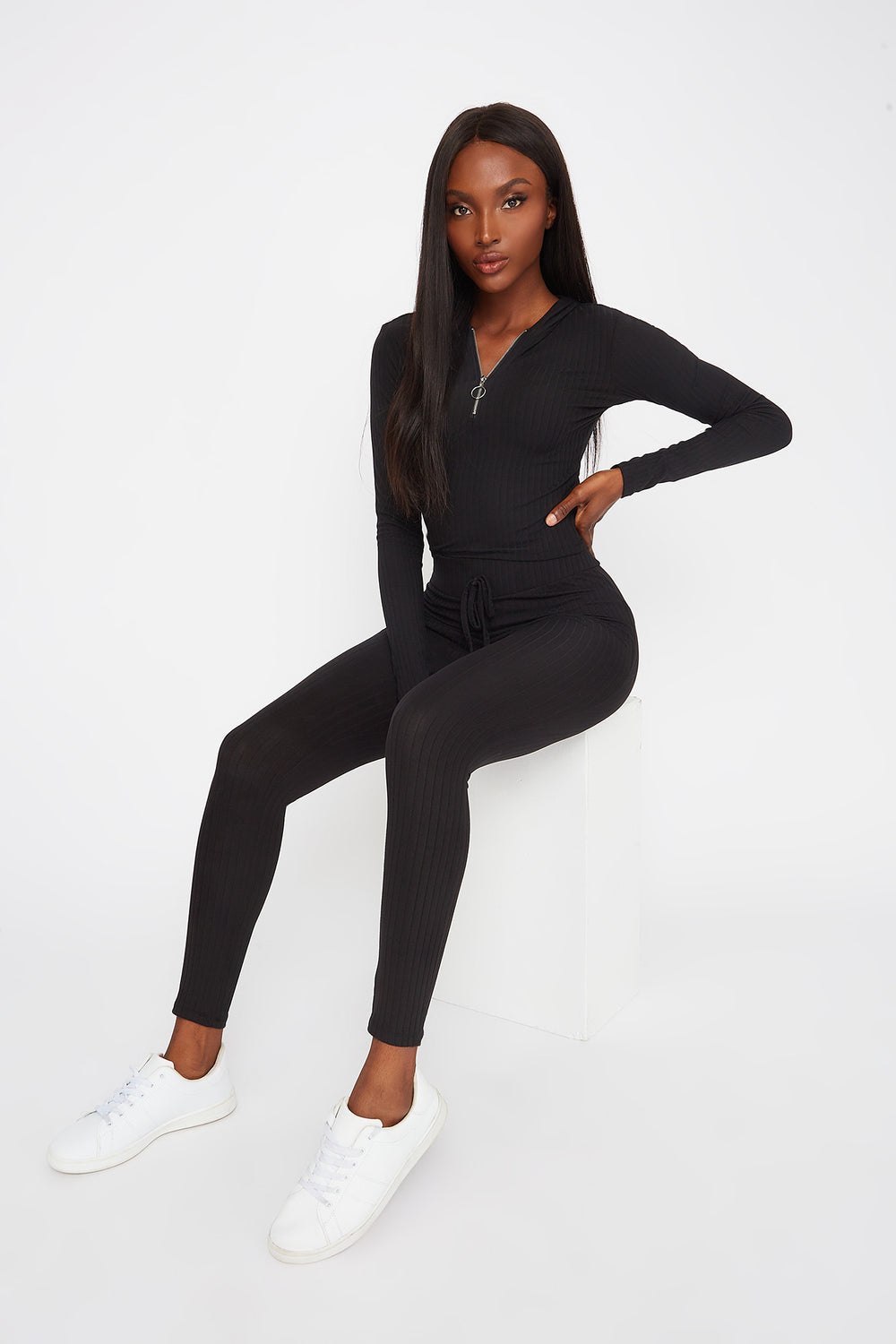 Soft Ribbed Drawstring Legging Black