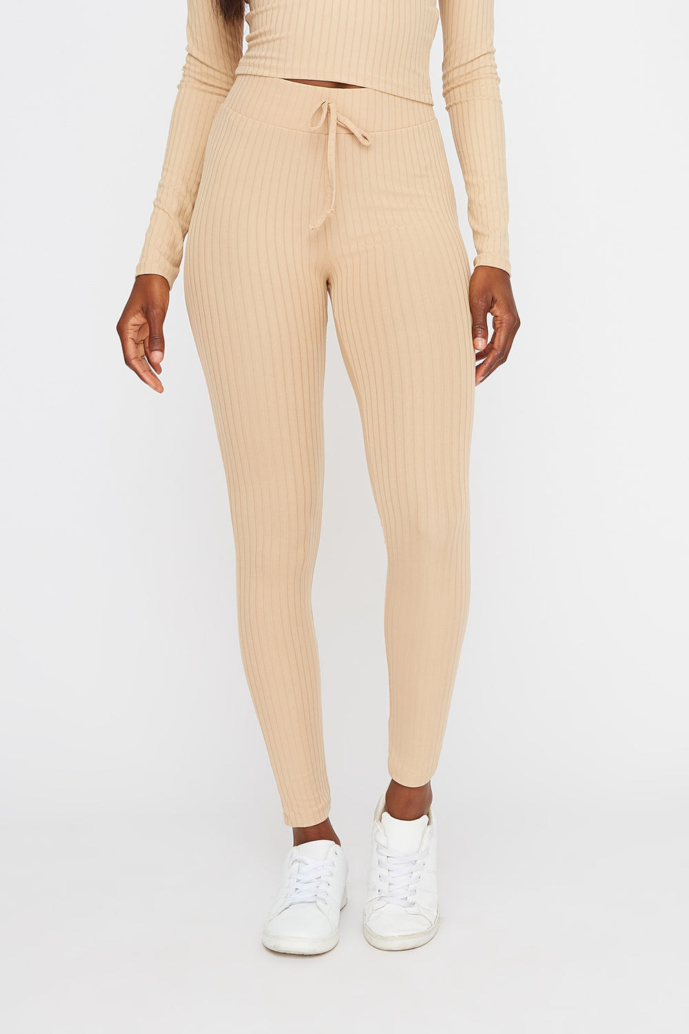 Soft Ribbed Drawstring Legging Sand