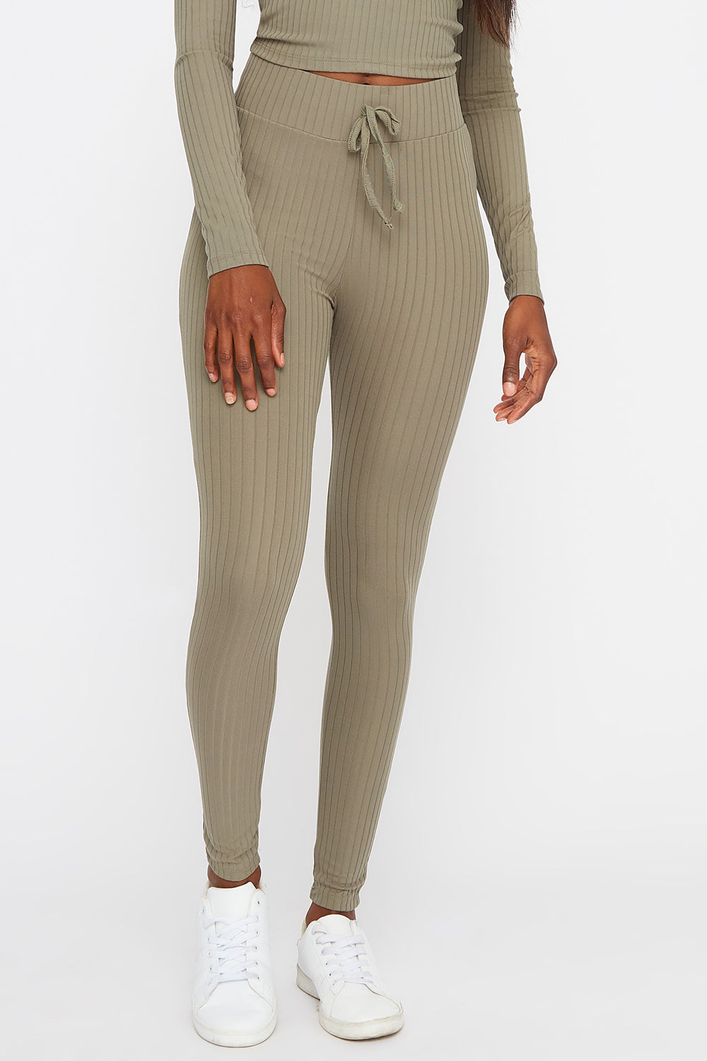 Soft Ribbed Drawstring Legging Dark Green