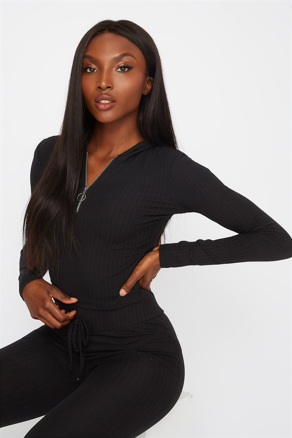 Soft Ribbed Quarter Zip Cropped Hooded Long Sleeve Black